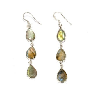 Sterling Silver Labradorite Trio Drop Earrings