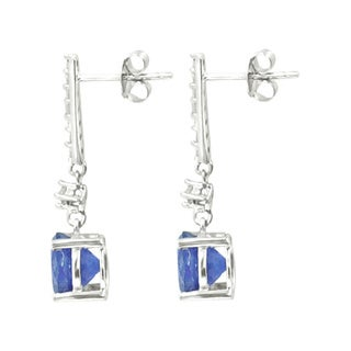 Sterling Silver Tanzanite White Zircon Dangling Earrings