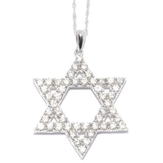 Sterling Silver White Zircon Star of David Pendant Necklace