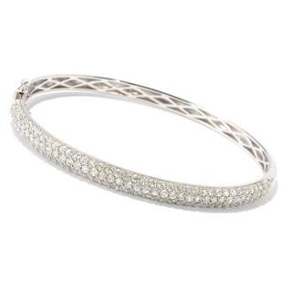 Sterling Silver Pave Set White Zircon Bangle Bracelet