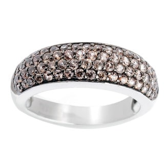 Sterling Silver Brown or White Zircon Band Ring