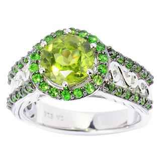 Sterling Silver Peridot and Chrome Diopside Halo Ring
