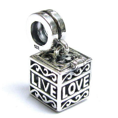 Queenberry Sterling Silver Love Laugh Live Memory Locket Screw-on Dangle European Bead Charm