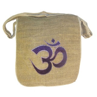 Handmade Bohemian Hippie Om Embroidered Hemp Shoulder Bag (Nepal)