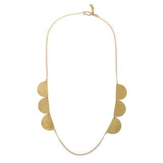 Lou Goldtone Brass Scallop Long Necklace (Kenya)