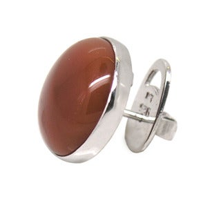 De Buman Sterling Silver Round-cut Natural Red Agate Earrings