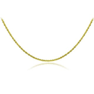Mondevio 14k Yellow Gold 1.6mm Diamond Cut Rope Chain Necklace