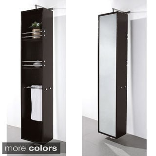 Wyndham Collection 'April' Linen Tower/ Rotating Floor Cabinet with Full-length Mirror