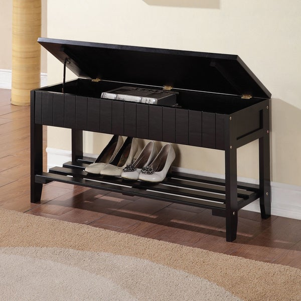 Shop Black Solid Wood Storage Bench With Shoe Shelf Free