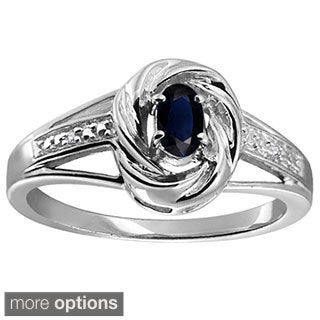 Silver Sapphire Gemstone and White Diamond Accent Solitaire Ring