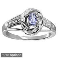Silver Tanzanite Gemstone and White Diamond Accent Solitaire Ring