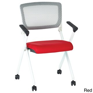 Folding Chair with Flex Back and Fabric Mesh Seat (Set of 2)