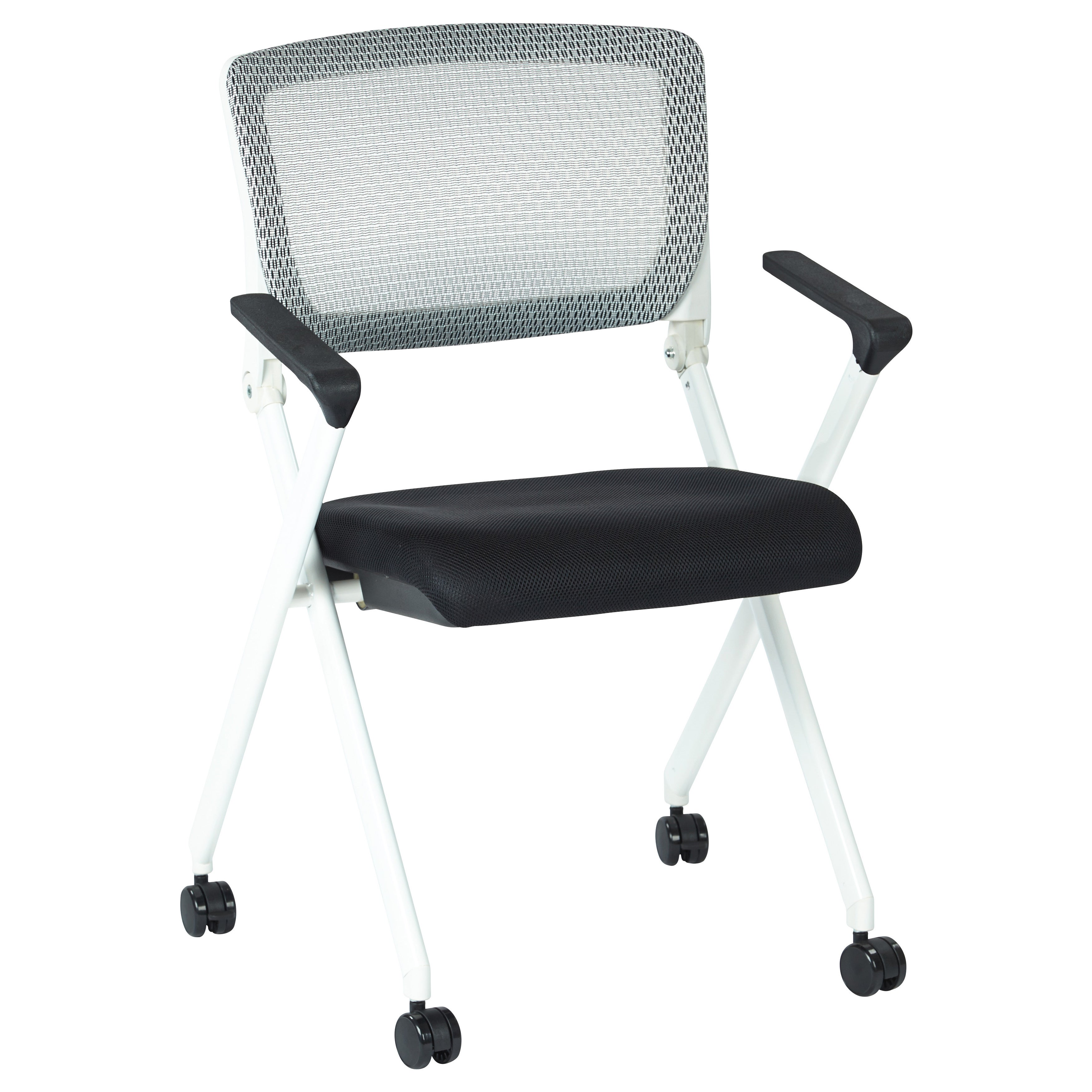 Office Star Products Folding Chair with Flex Back and Fab...