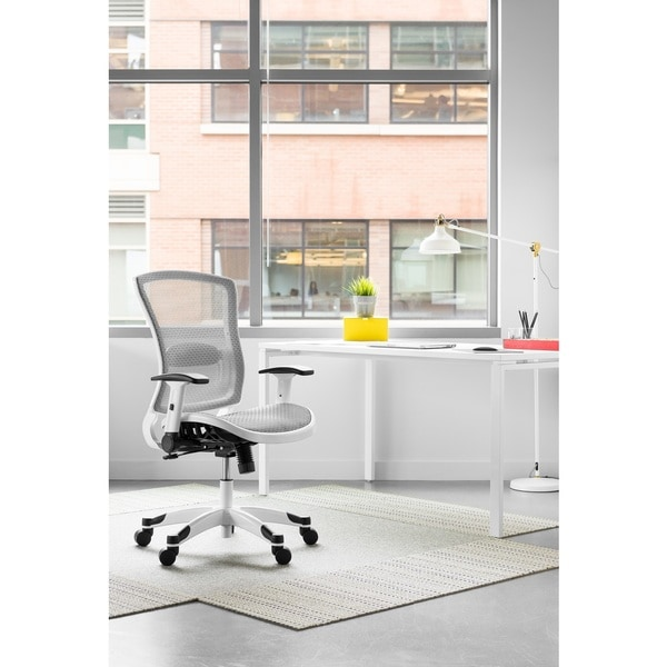 Shop White Frame Manager Chair with Mesh Seat and Back Flip Arms ...
