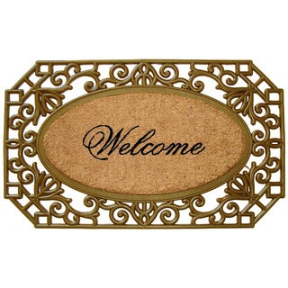 First Impression Rubber and Natural Coir Copper Hand Finished 'Welcome' Doormat (1'6 x 2'6)
