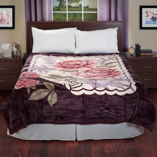 Lavish Home Reversible Soft Mink Blanket with Rose Flower