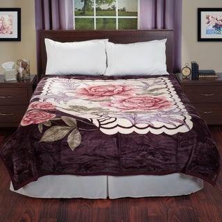 Windsor Home Reversible Soft Mink Blanket with Rose Flower