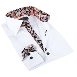 Coogi Luxe Men's White and Paisley Button-down Dress Shirt