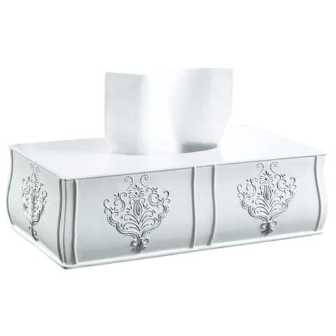Vintage White Rectangular Tissue Box