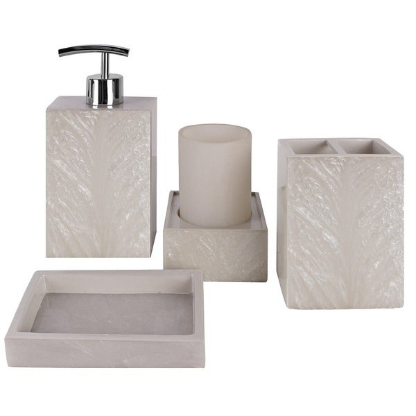 Solitaire cream 4 piece bathroom accessory set free for Cream bathroom accessories set