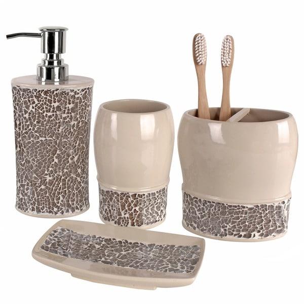 Broccostella 4 piece bath accessory set free shipping for Bathroom 4 piece set