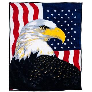 Windsor Home Soft Faux Mink Blanket with Bald Eagle