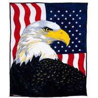 Windsor Home Soft Faux Mink Blanket with Bald Eagle