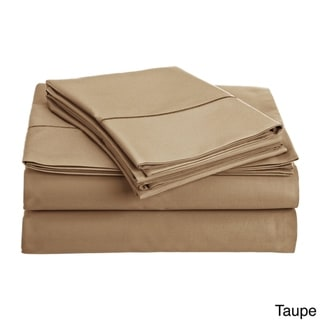 Luxury Solid Egyptian Cotton 800 Thread Count Deep Pocket Sheet Set (Full - Taupe)