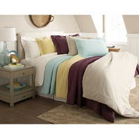 Pointehaven 200 GSM Superior Flannel Solid Color Duvet Cover Set
