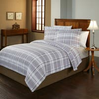 Pointehaven Jensen Plaid 200 GSM Superior Flannel Duvet Cover Set