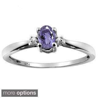 Silver Tanzanite Gemstone and White Diamond Accent Solitaire Ring