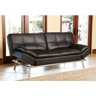 Abbyson Marquee Black Bonded Leather Convertible Sofa