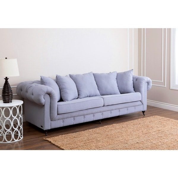 shop abbyson dalton 100 inch light steel blue linen fabric sofa rh overstock com 100 inch sofa with chaise 100 inch sectional sofa