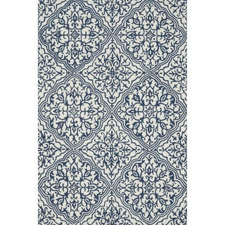 Hand-hooked Charlotte Ivory/ Blue Rug (2'3 x 3'9)