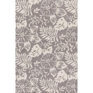 Hand-hooked Charlotte Grey/ Ivory Rug (3'6 x 5'6)
