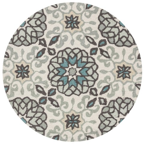 Hand-hooked Grey/ Ivory Scroll Round Area Rug - 3' x 3'