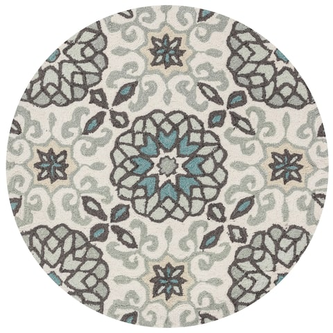 Hand-hooked Grey/ Ivory Scroll Round Area Rug - 3' x 3' Round