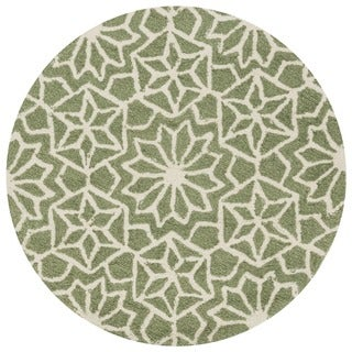 Hand-hooked Green Geometric Round Area Rug - 3' x 3' Round