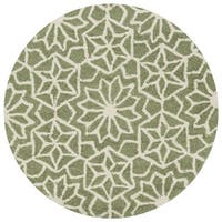 Hand-hooked Green Geometric Round Area Rug - 3' x 3'