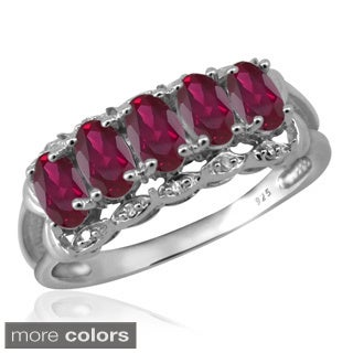 Silver Ruby Gemstone and White Diamond Accent Five Stone Ring