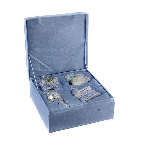 Kurt Adler Noble Gems Glass Baby Boy 4-Piece Ornament Set