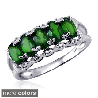 Silver Chrome Diopside Gemstone and White Diamond Accent Five Stone Ring