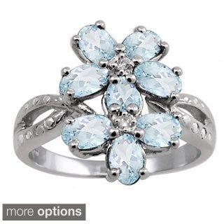 Silver Aquamarine Gemstone and White Diamond Accent Five Stone Ring