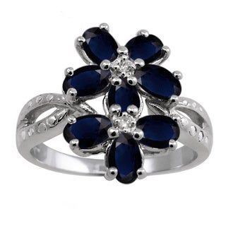 Silver Sapphire Gemstone and White Diamond Accent Flower Ring