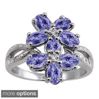 Silver Tanzanite Gemstone and White Diamond Accent Flower Ring