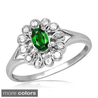 Silver Chrome Diopside Gemstone and White Diamond Accent Flower Ring