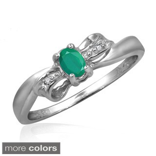 Silver Emerald Gemstone and White Diamond Accent Bow Ring