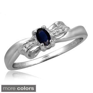 Silver Sapphire Gemstone and White Diamond Accent Bow Ring
