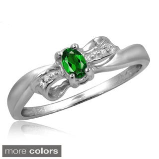 Silver Chrome Diopside Gemstone and White Diamond Accent Bow Ring