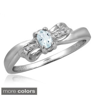 Silver Aquamarine Gemstone and White Diamond Accent Bow Ring